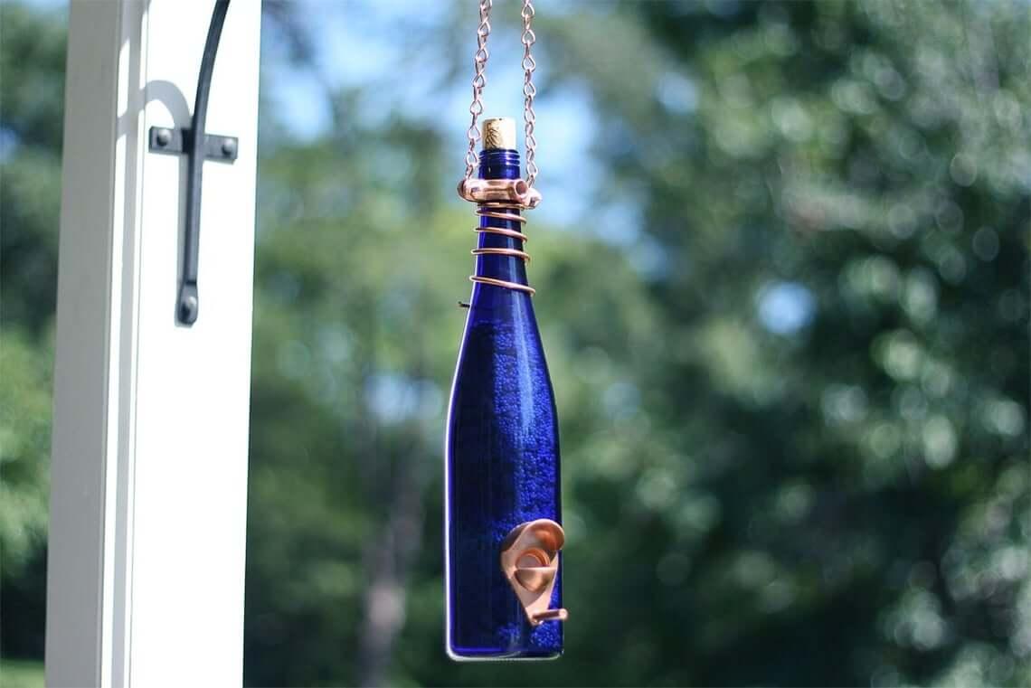 Cobalt Blue Bottle Bird Feeder with Copper Trim