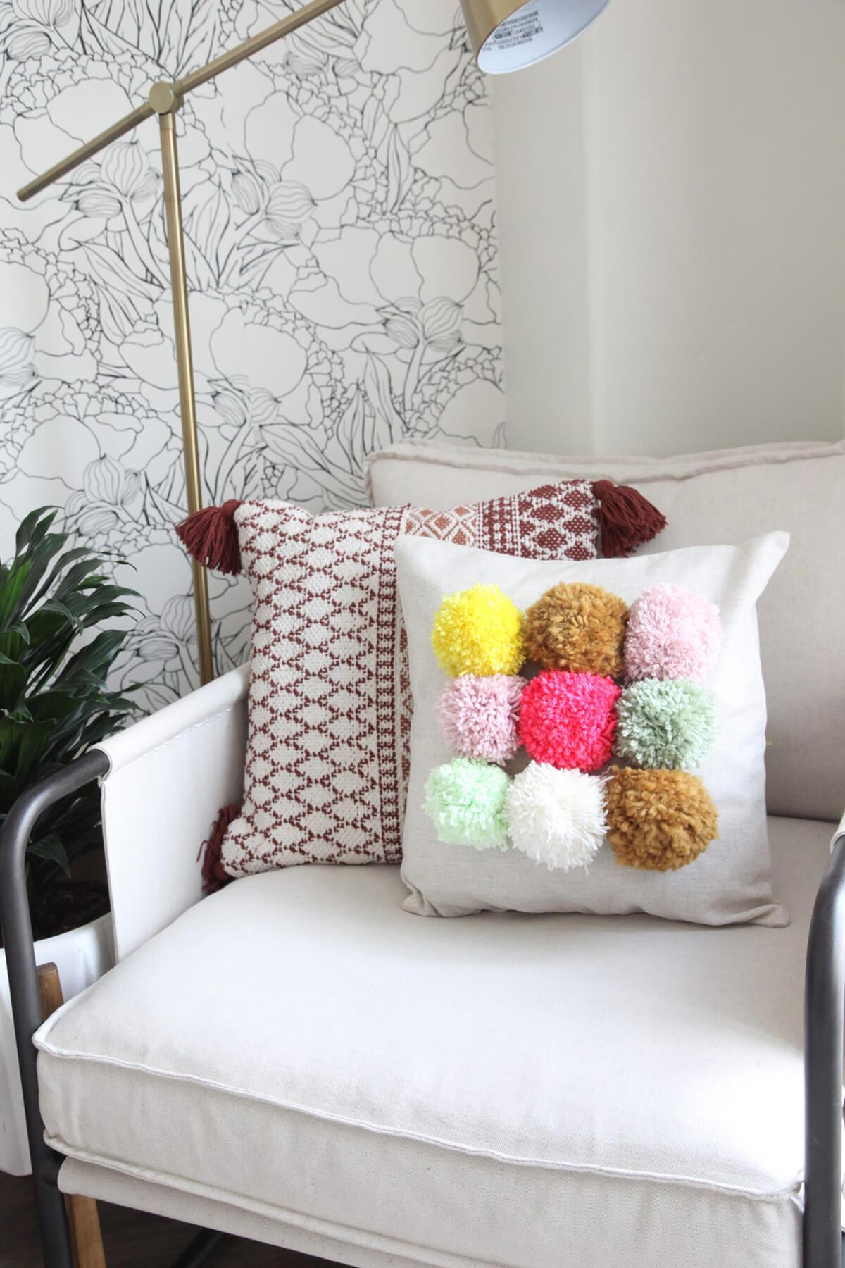 Three Square Fluffy Pom Pom Pillow Case