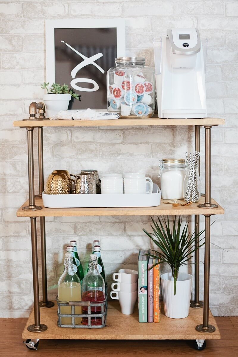 Wood and Metal Tiered Cart Coffee Caddy