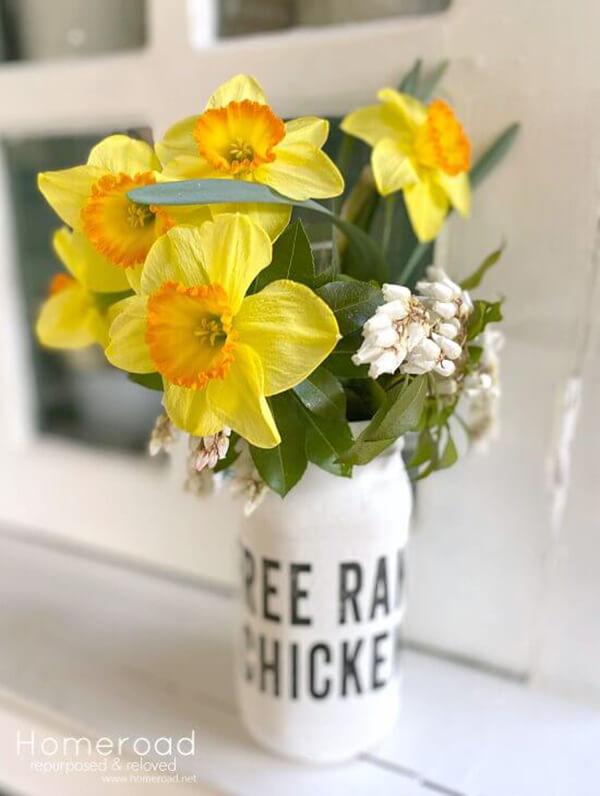 Free Range Farmhouse Painted Mason Jar Vase