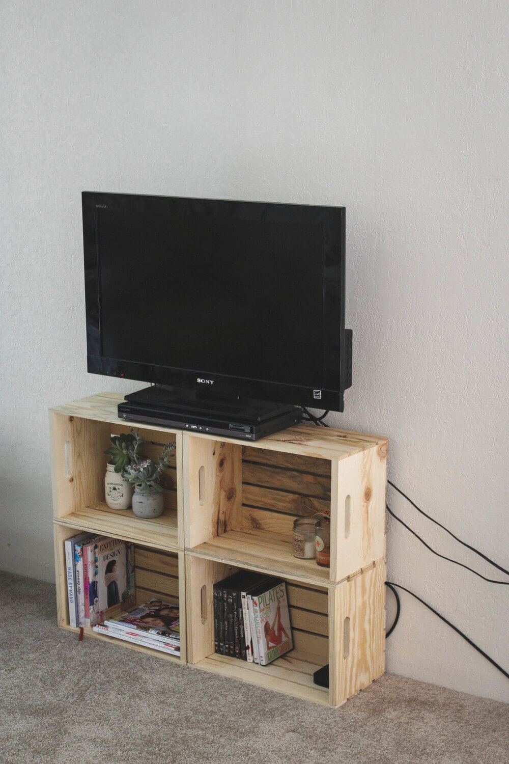 Crate Creations Stacked TV and Storage Stand