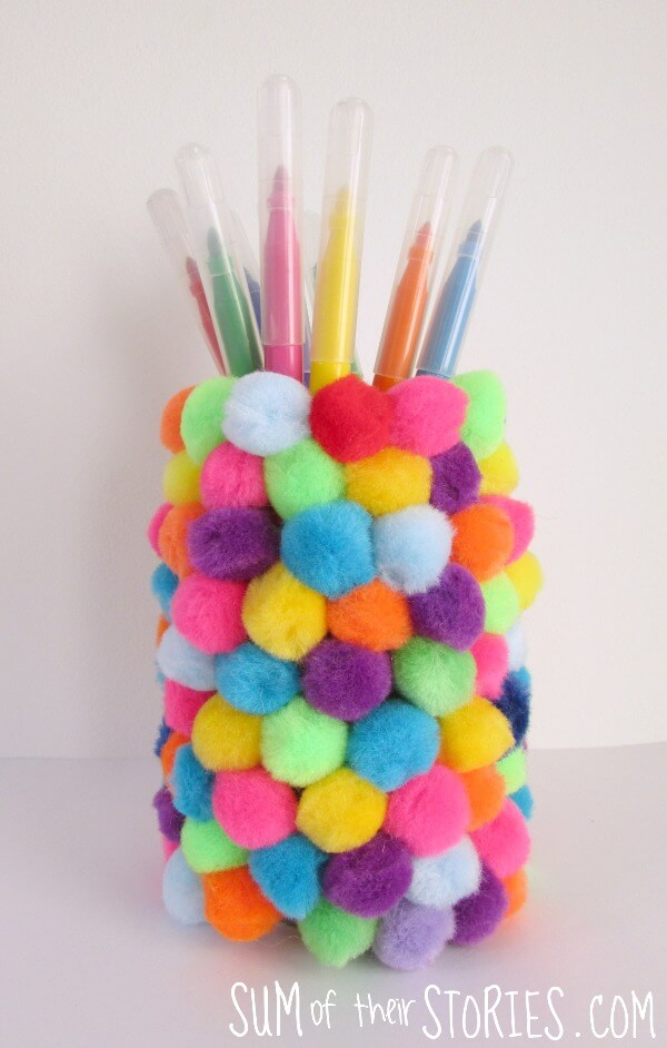 DIY Pom Pom Covered Pencil Jar