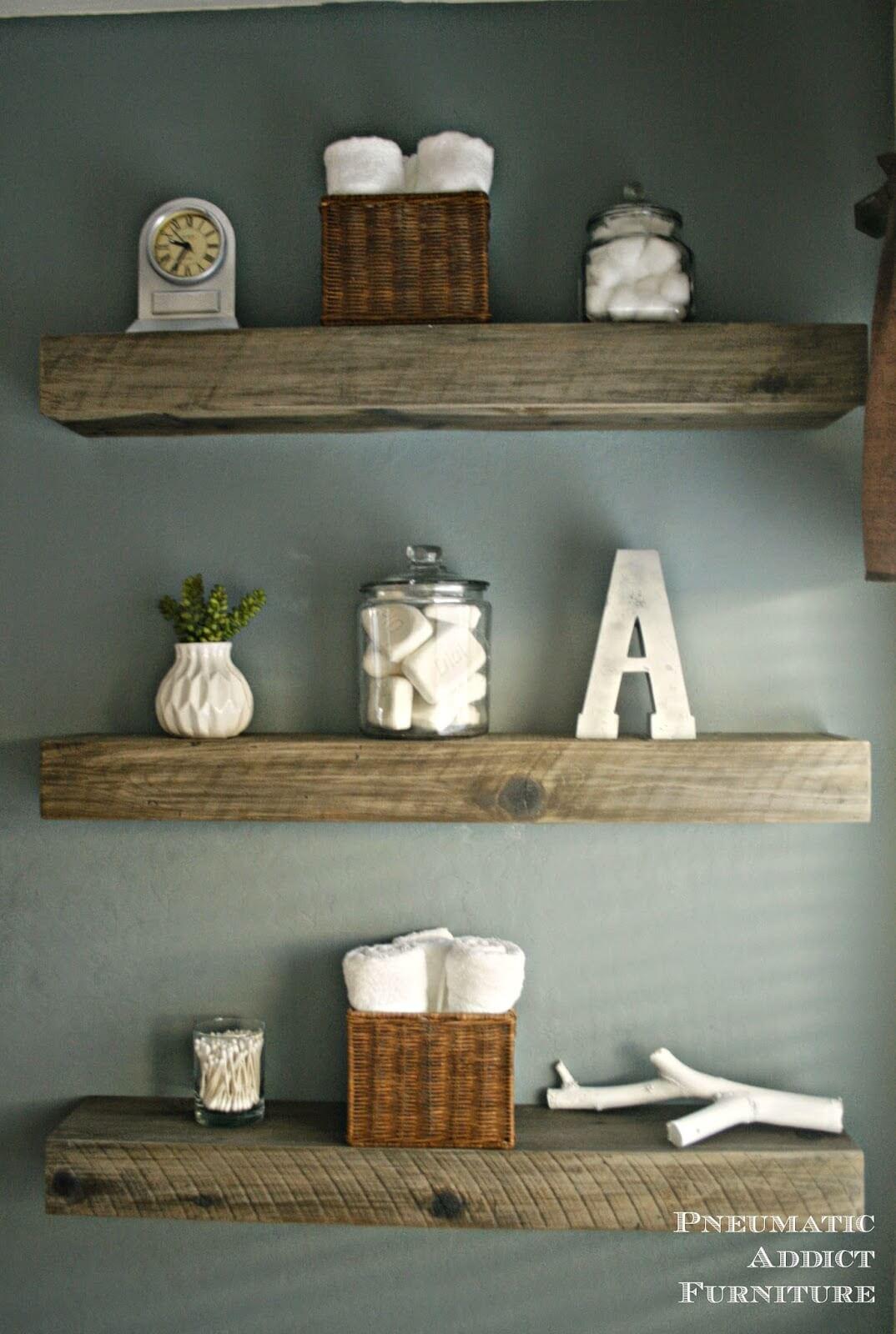 Rustic Wooden Beam Shelf Trio