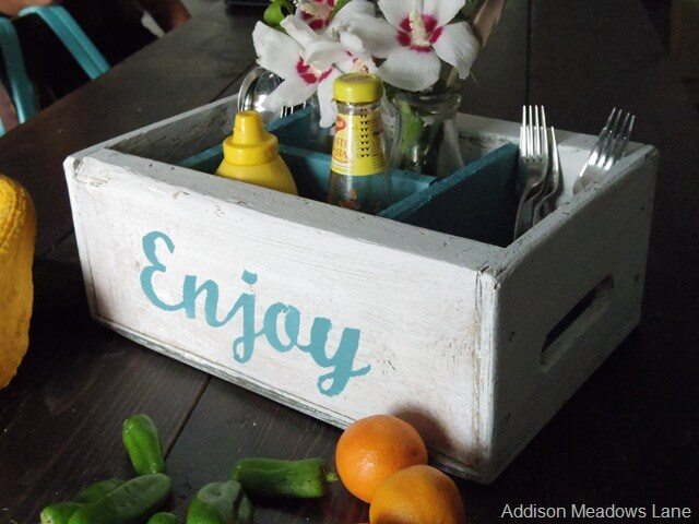 Diner's Delight Painted Vintage Crate Organizer