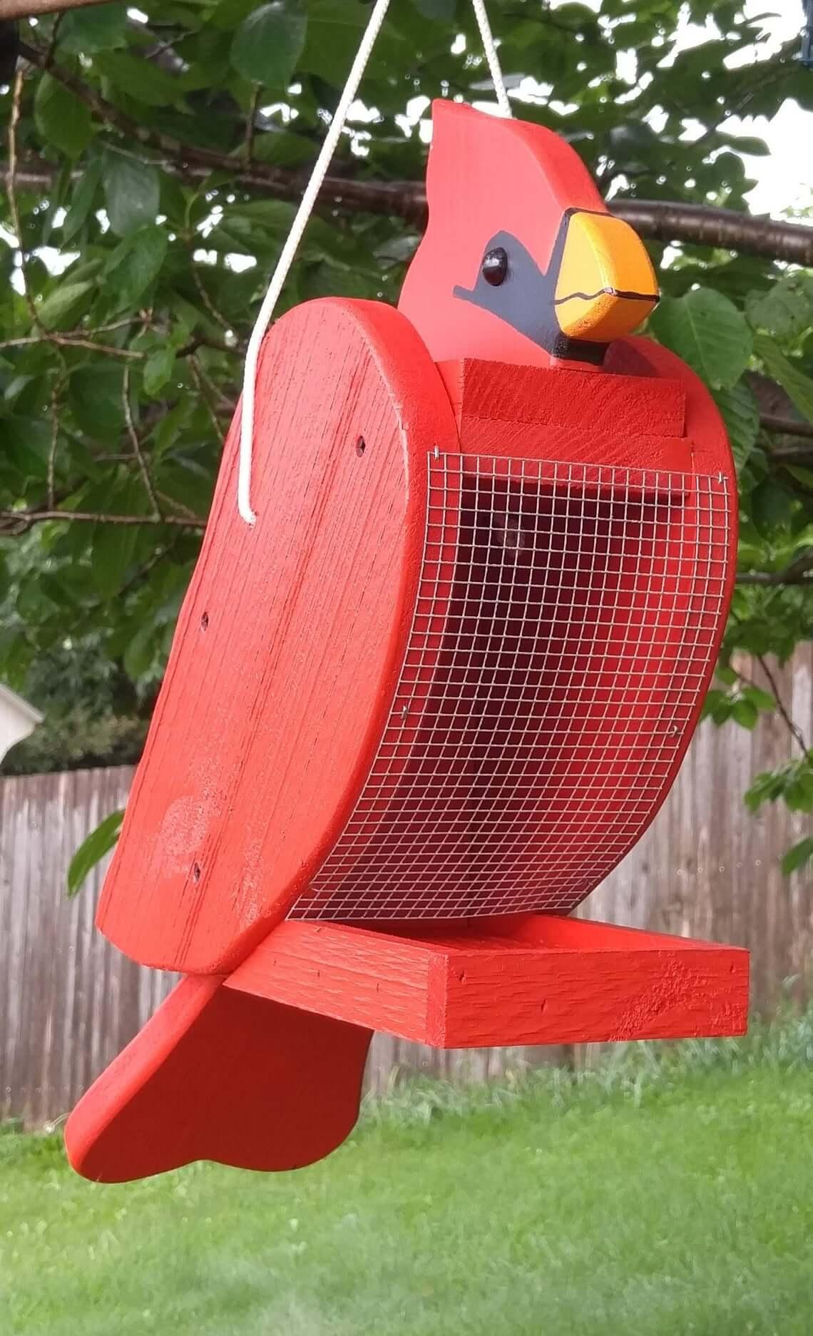 Fun Handcrafted Cardinal Bird Feeder