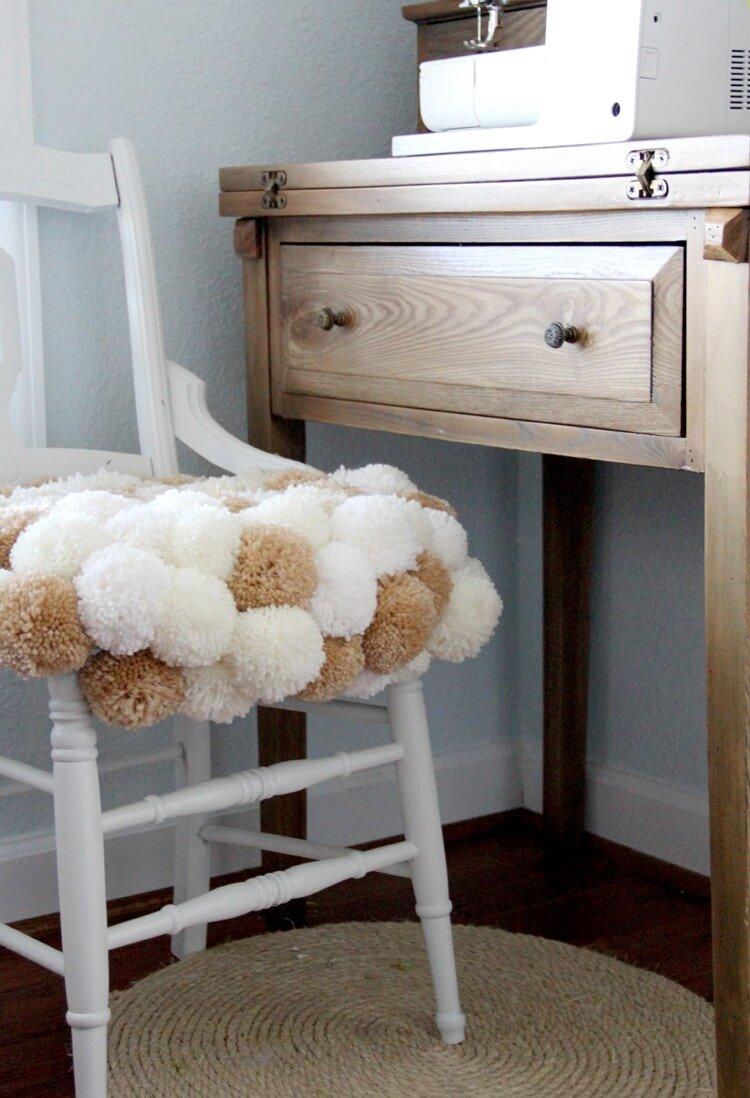 Pom-Pom Clustered Chair Cushion Carpet