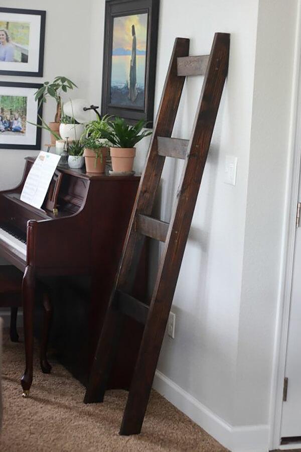 Dark Vintage Wooden Blanket Ladder