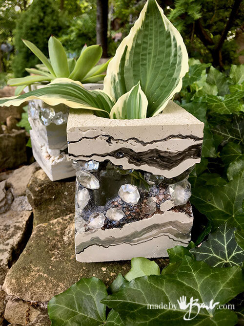 Hidden Jewel Concrete Garden Flower Holder
