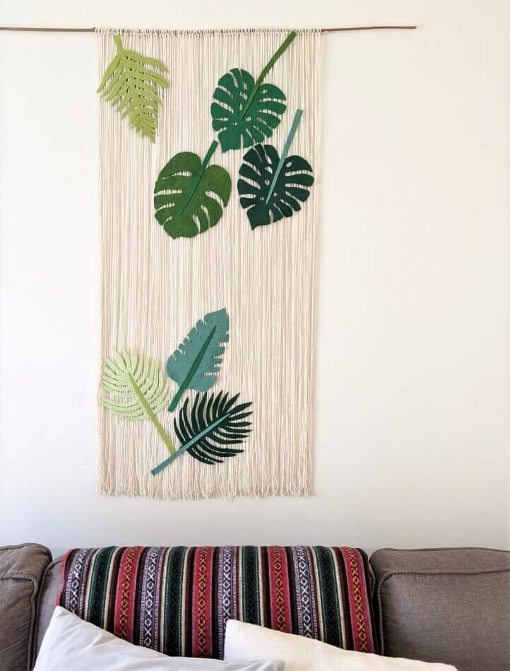 Macrame Curtain with Felt Leaves Wall Art