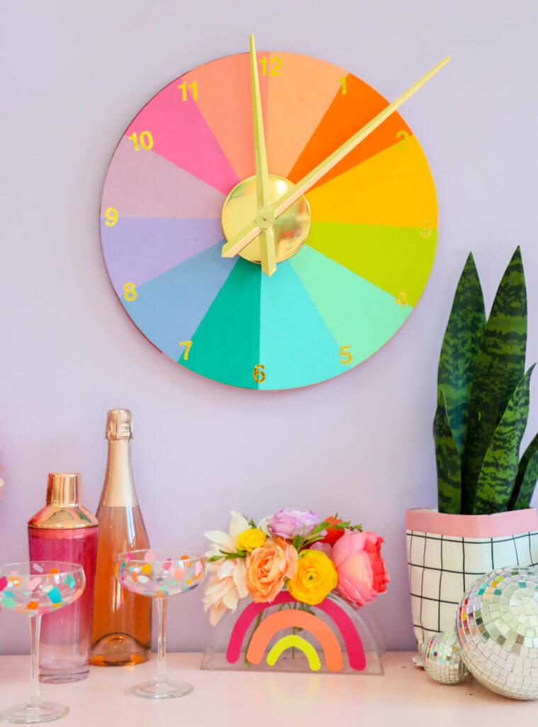 Vibrant DIY Color Wheel Clock