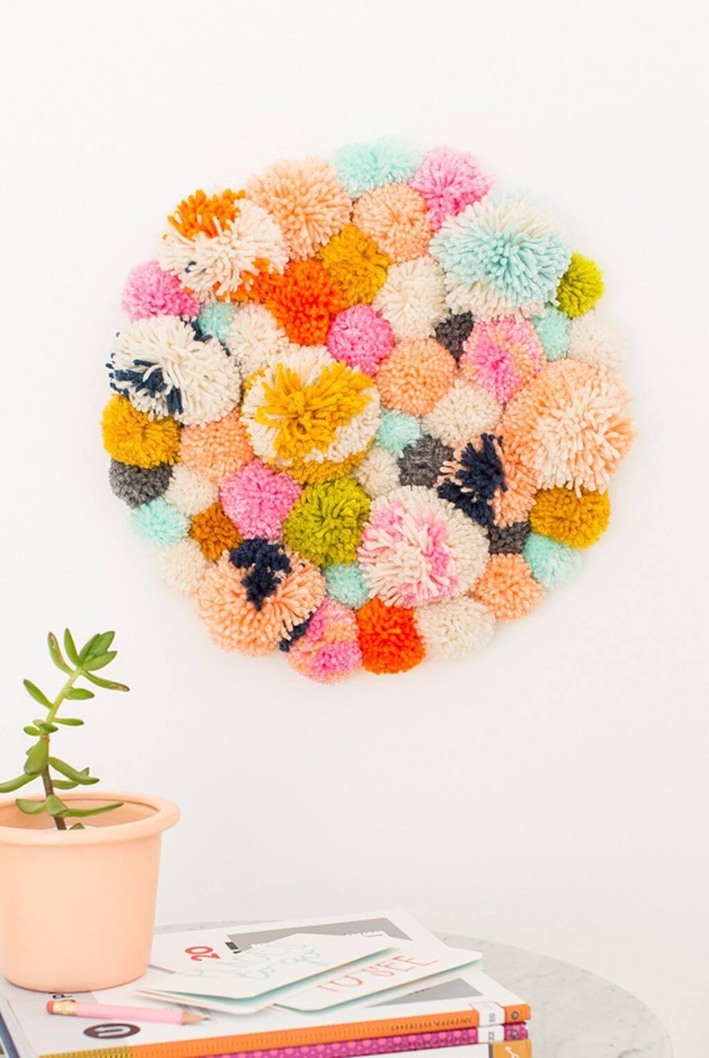 Interesting Pom Pom Hanger Wall Art