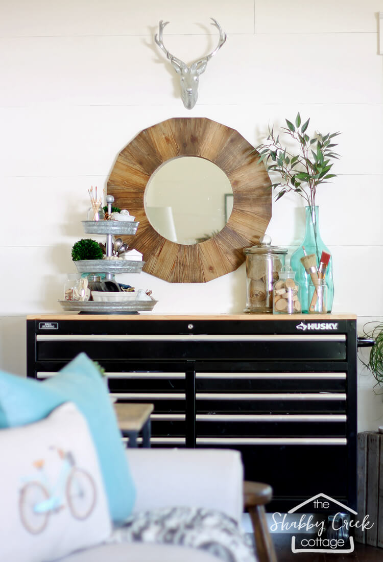 DIY Crafter's Corner with Storage and Mirror