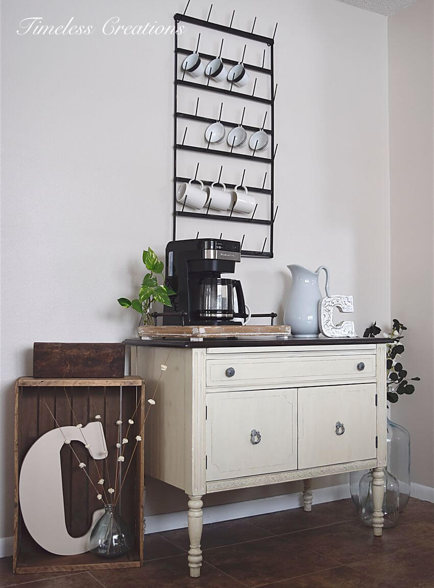 Black and White Shabby Chic Coffee Station