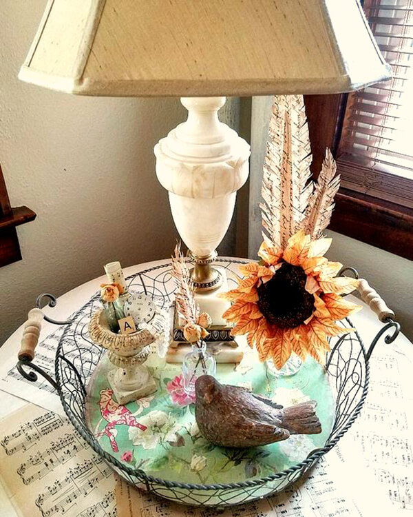 Alabaster Lamp Tablescape with Bird and Flower