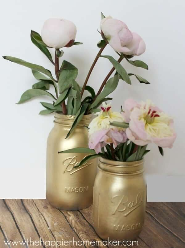 Spray Painted Gold Mason Jar Vases