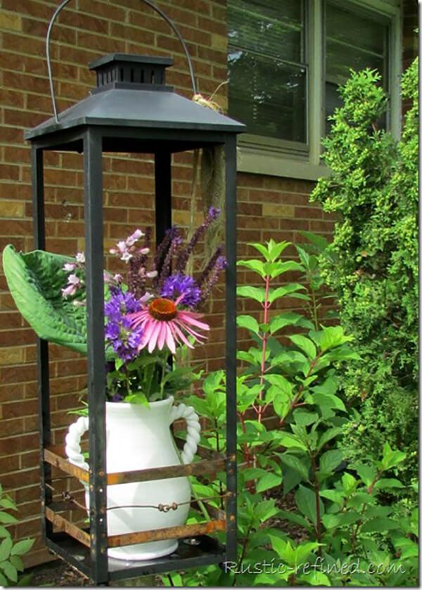 Large Metal Lantern Flower Vase Holder