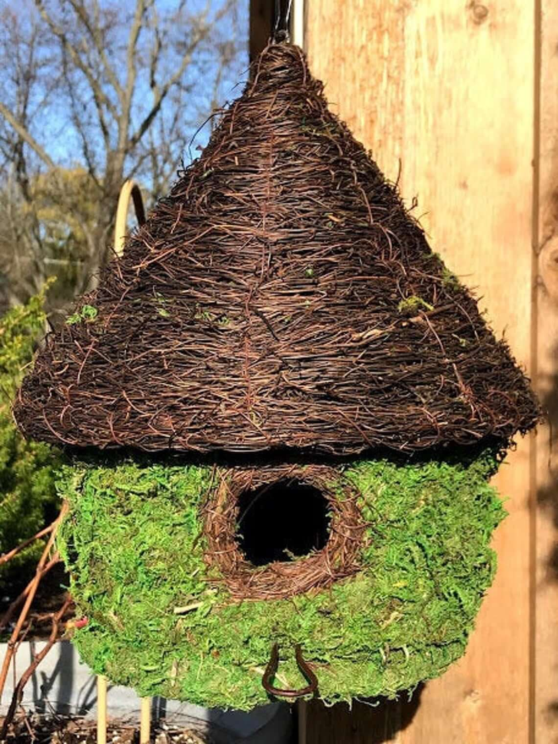 Unique Natural Moss Yurt-Style Birdhouse