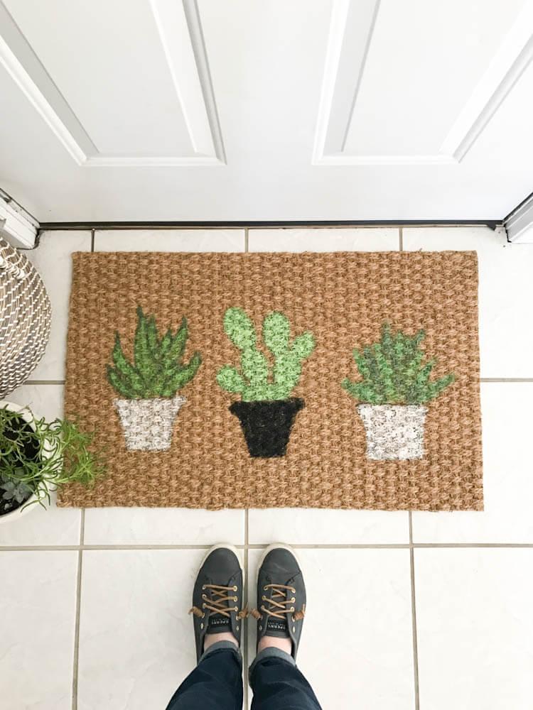 Hand-Painted Green Cactus Doormat