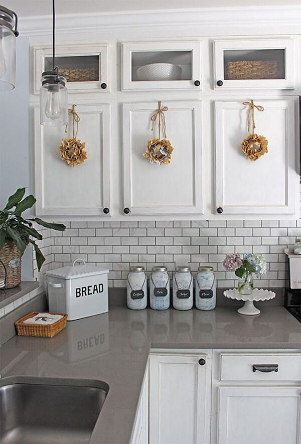 DIY Kitchen Cupboard Wreaths and Canisters