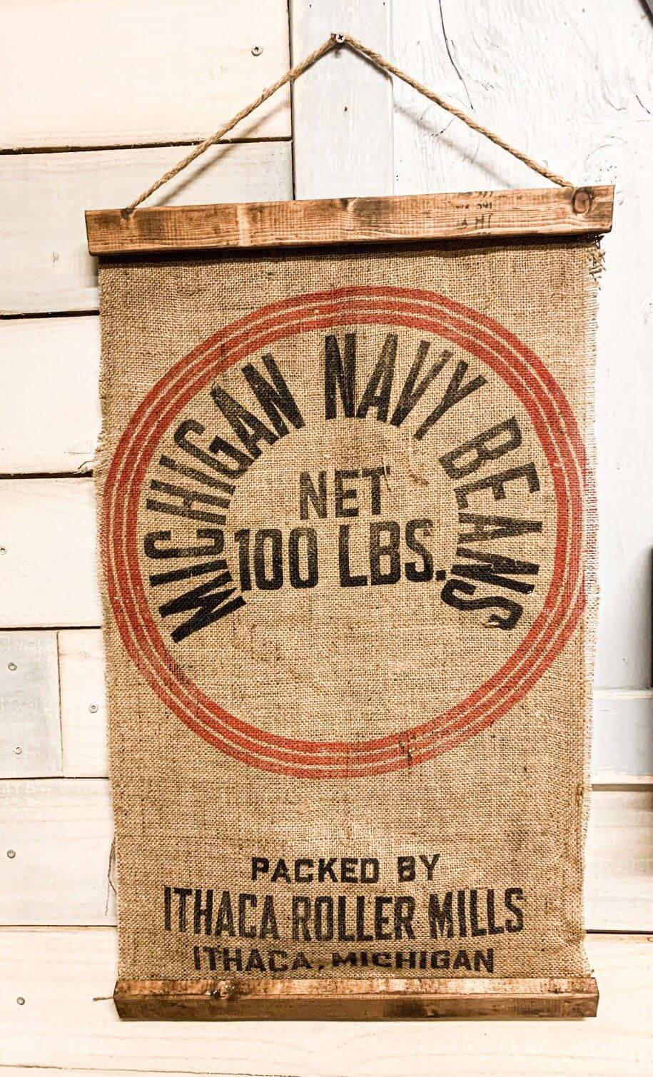 Nostalgic Bean Sack Turned Hanging Banner