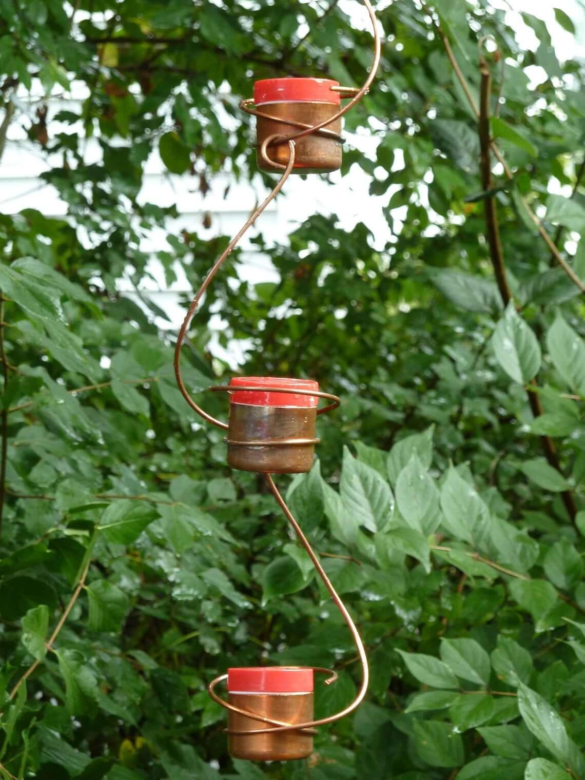 Minimalist Copper Wire & Cup Hummingbird Feeders