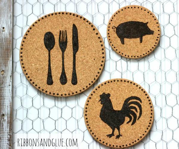 Farm Themed Cork Art on Chicken Wire