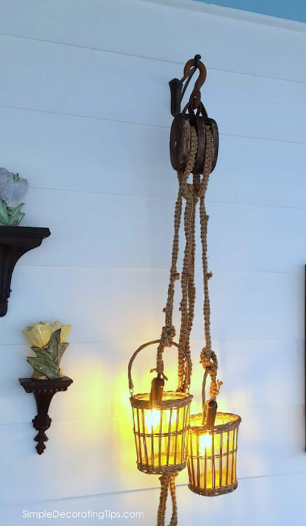 Macrame Rope Pulley System Lights in Baskets