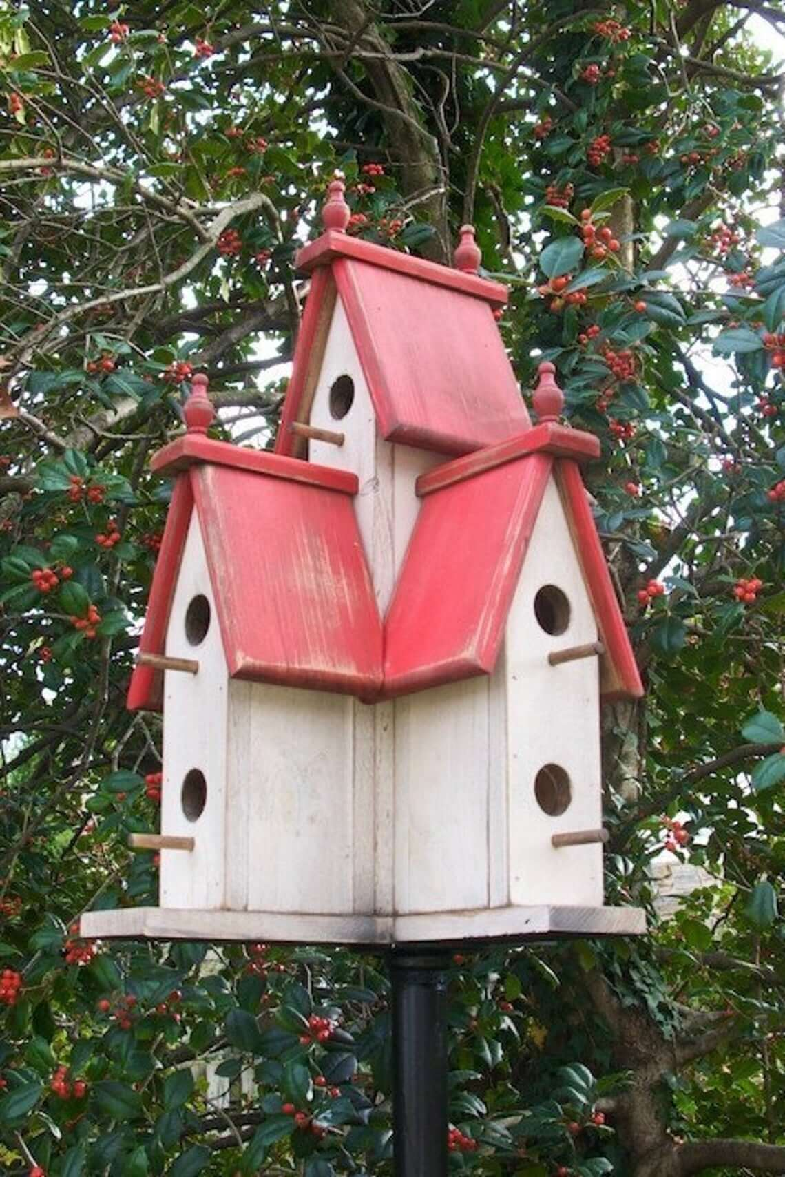 Spacious Victorian Birdhouse with Distressed Finish