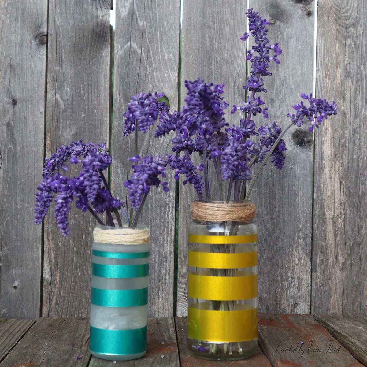 Metallic Jewel Tone Striped Jar Vases