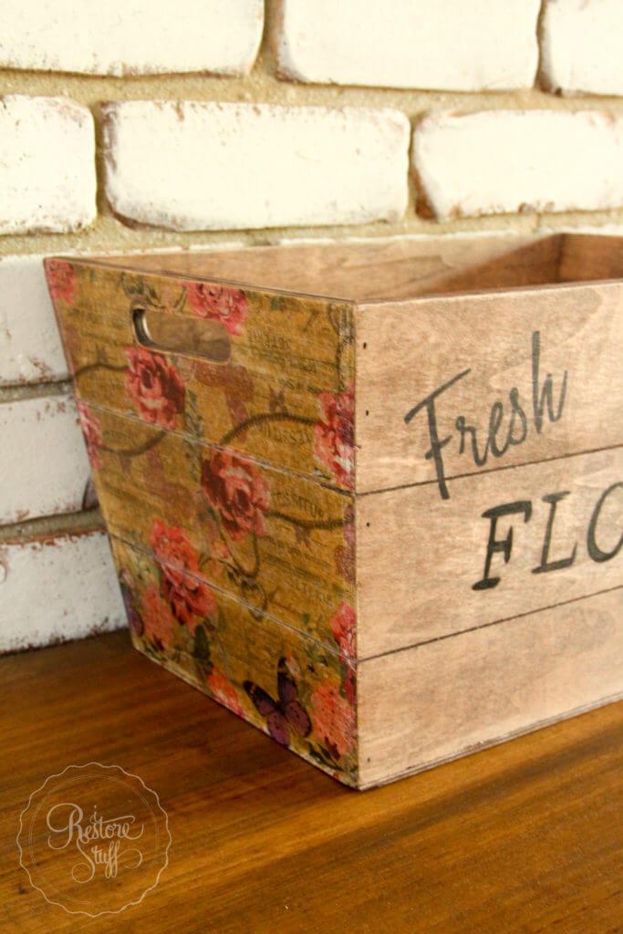 Decoupaged Fresh Flowers Wood Bin