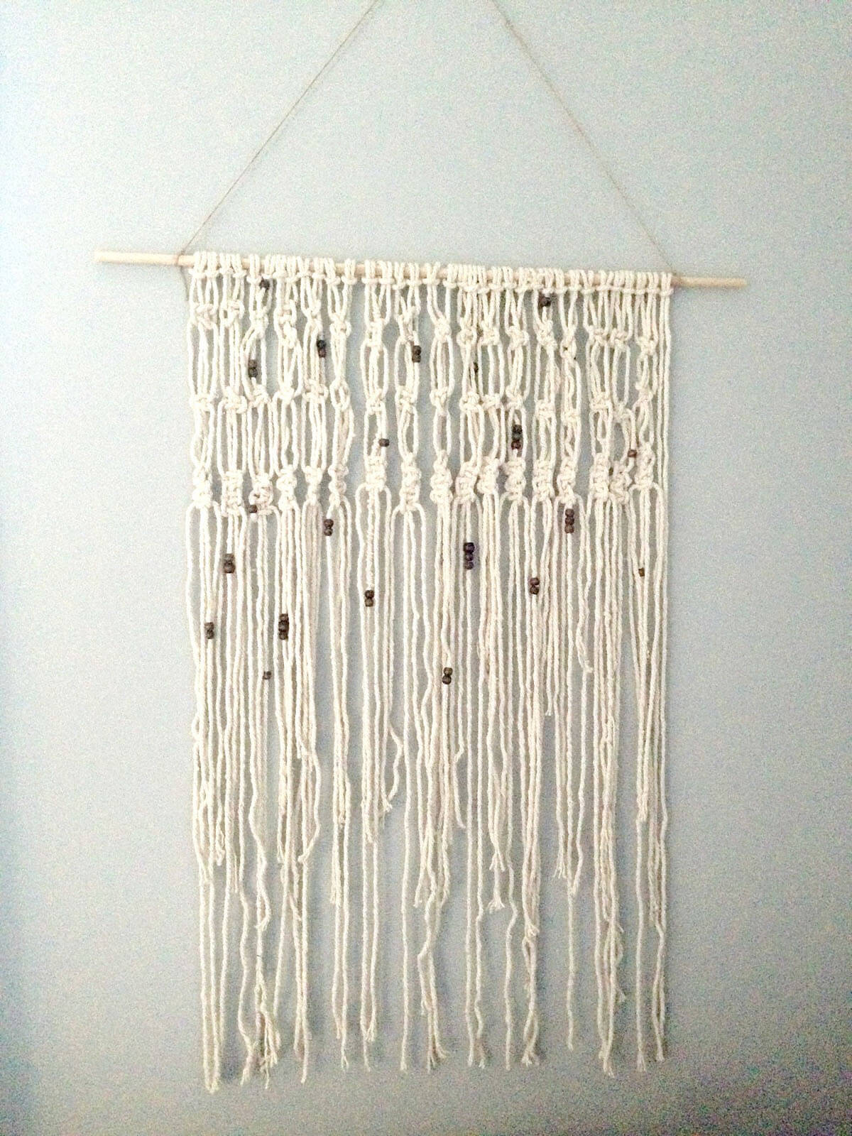 Bohemian Macrame with Beads Decorative Wall Art
