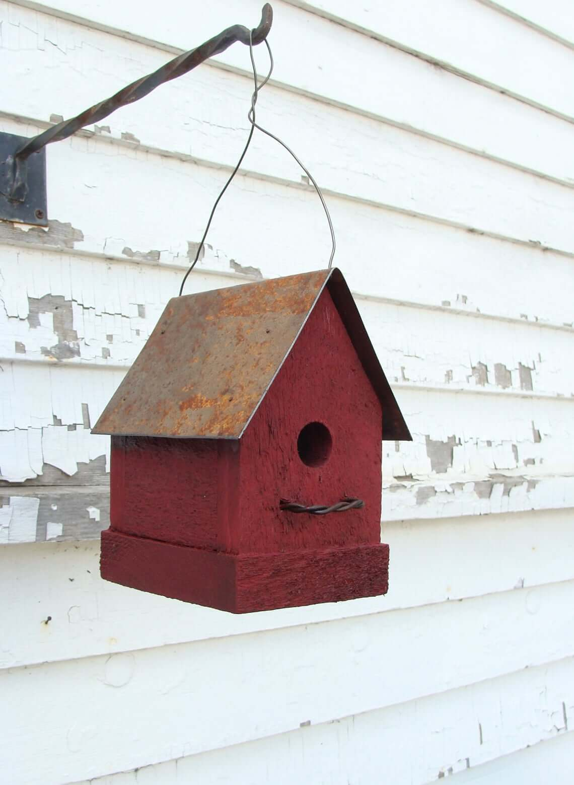 Rustic Red Barn Birdhouse with Metal Roof