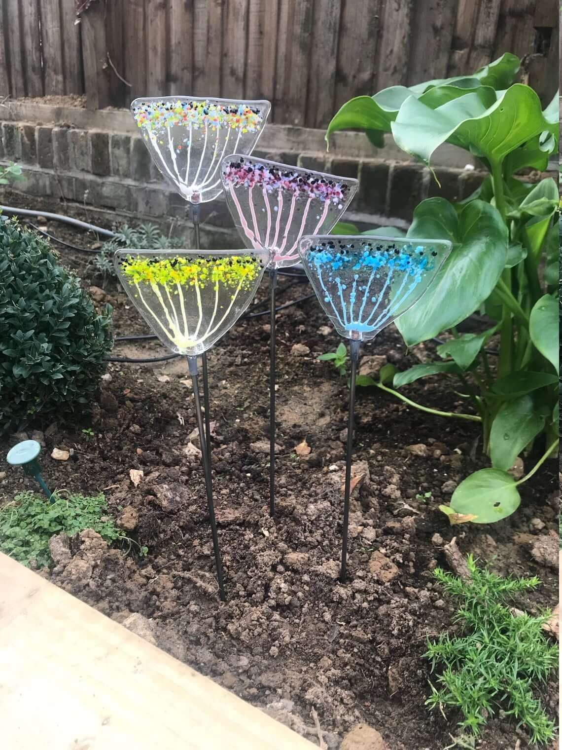 Colorful Cow Parsley Fused Glass Stakes