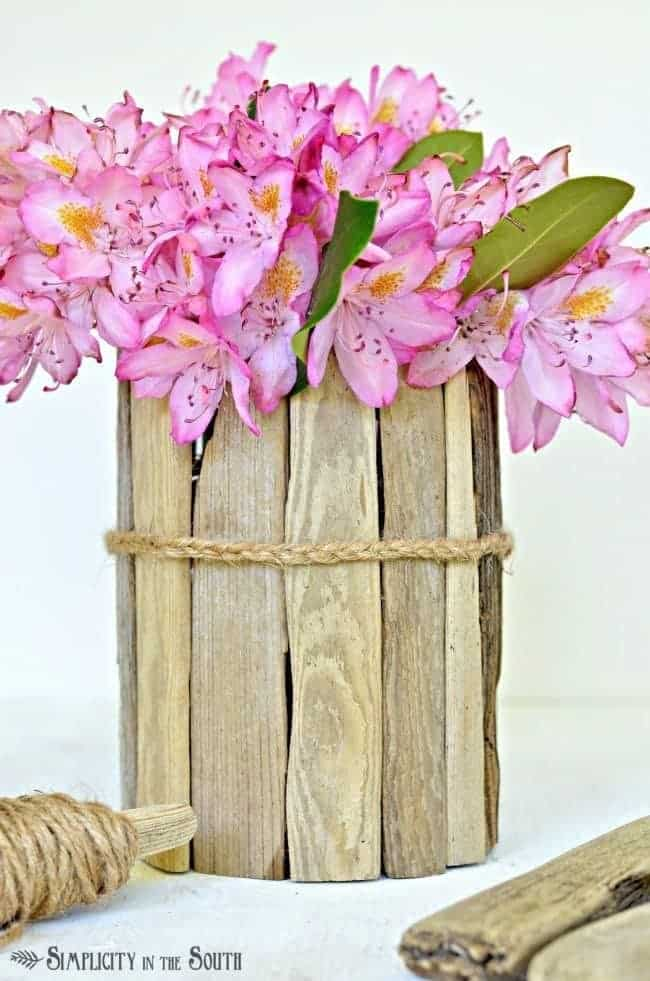 Scrap Wood Wrapped Flower Vase