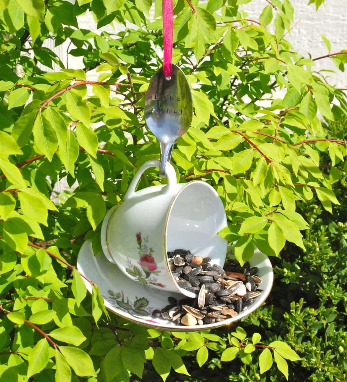 Teacup, Saucer, and Bent Spoon Bird Feeder