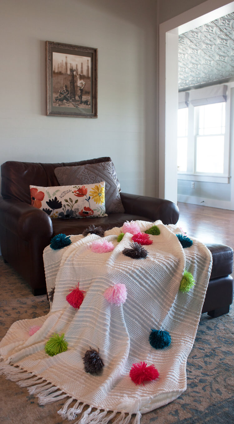 Large and Fluffy Multi-Colored Pom Pom Throw