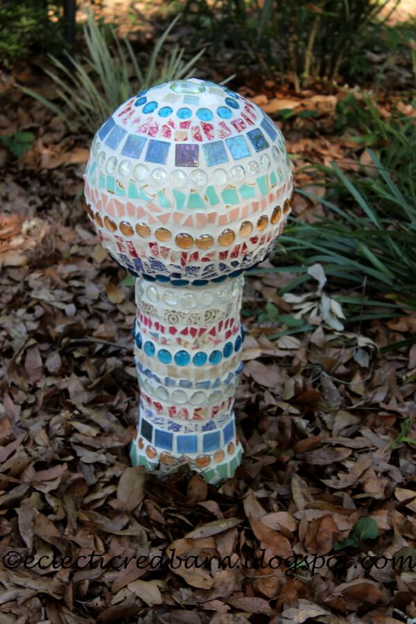 Mosaic Covered Globe and Vase Garden Art
