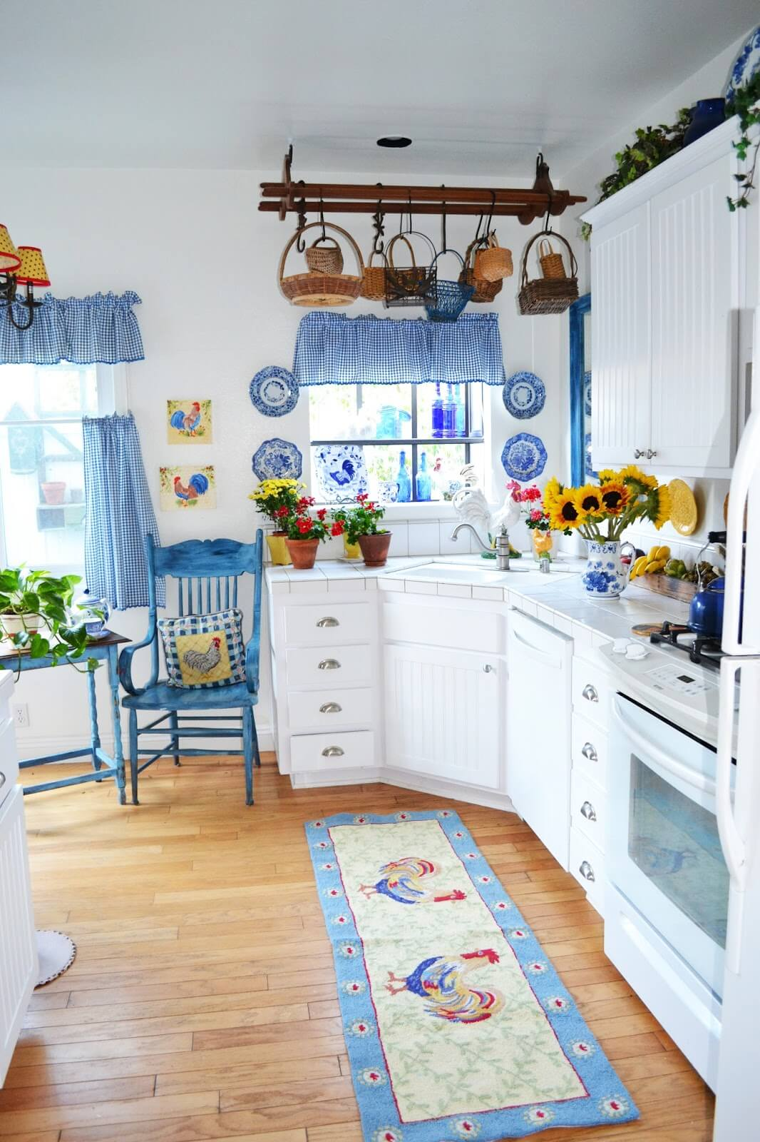 Blue and White Checkered Kitchen Curtains