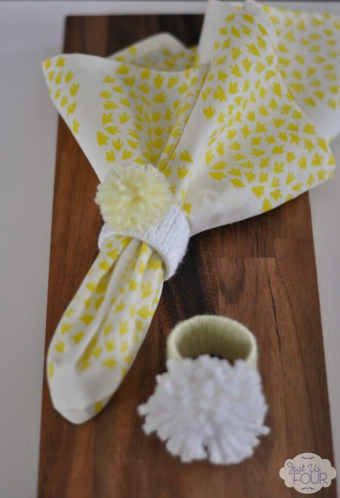 Yarn Wrapped Napkin Ring with Pom Pom