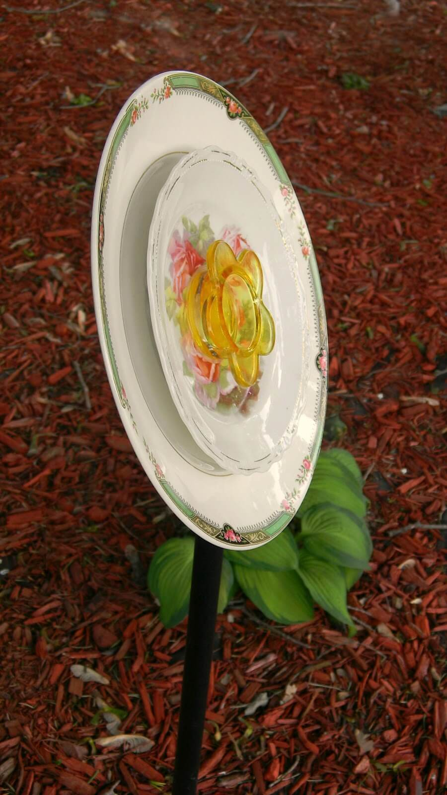 Repurposed Saucer and Plate Glass Flower