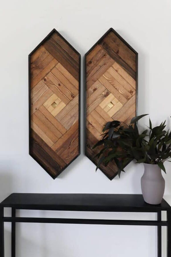 Oblong Hexagon Interwoven Wooden Wall Art