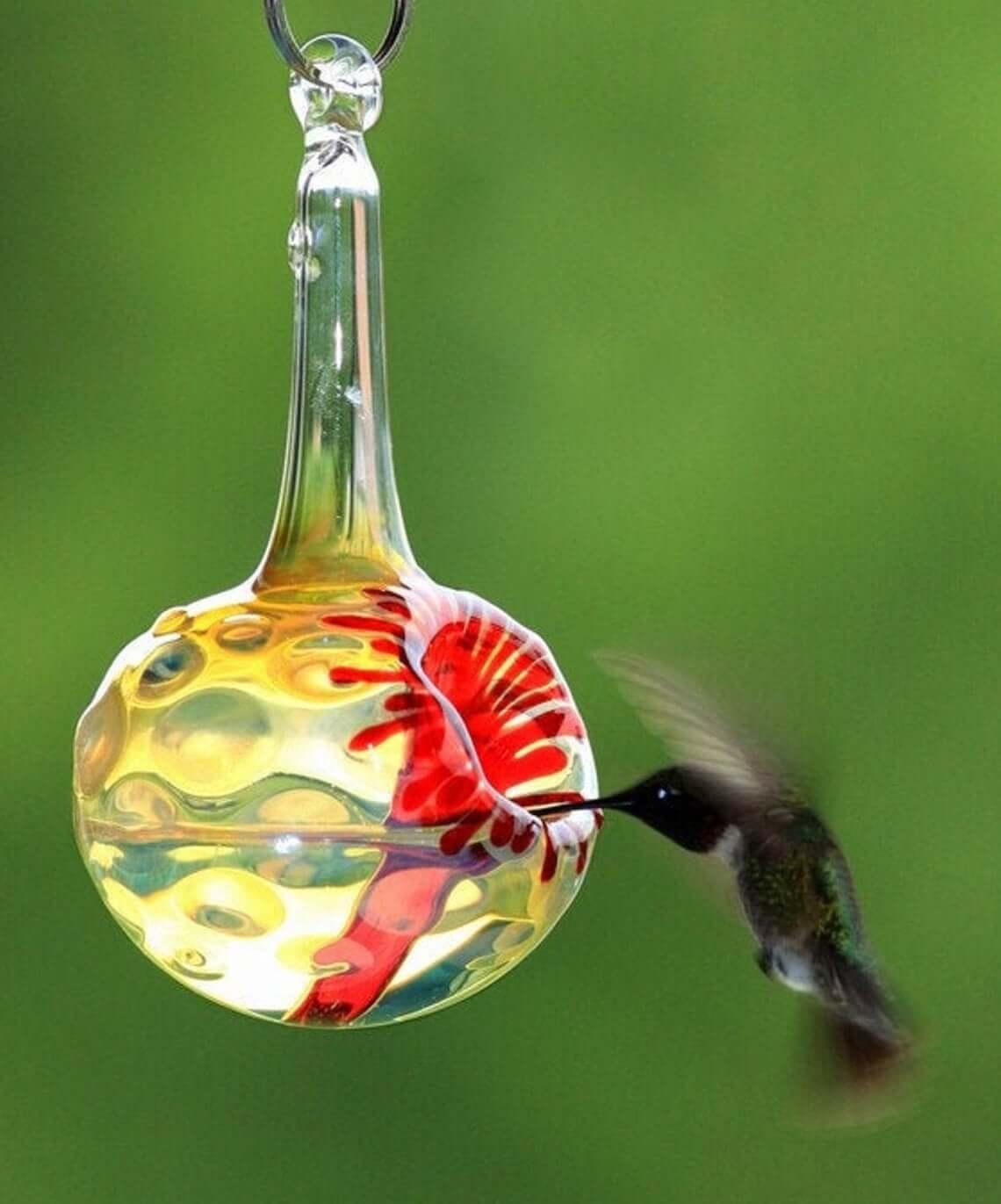 Hand-Blown Kennedy Style Hummingbird Feeder