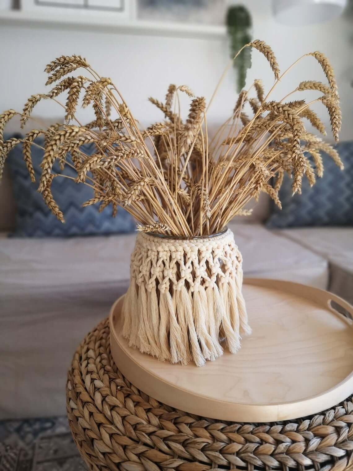 Woven Macrame Decorative Glass Jar Vase