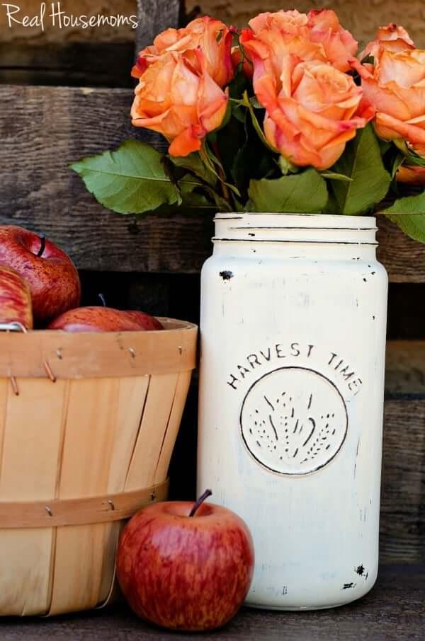 Tall Harvest Time Painted Mason Jar Vase