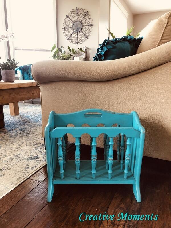 Turquoise Painted Wood Magazine Rack