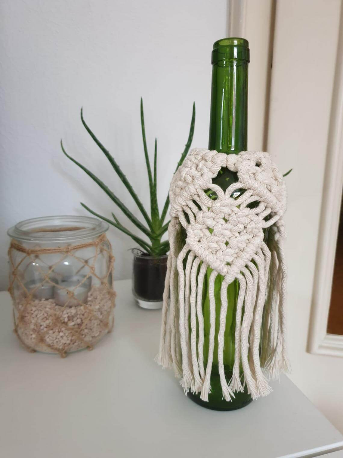 Wine Bottle Woven Macrame Wrap