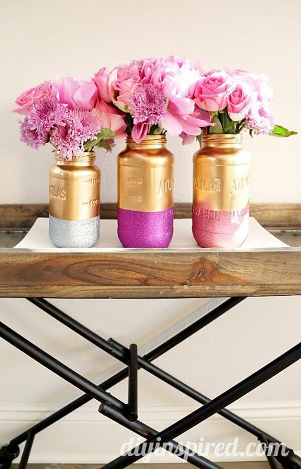 Gold and Glamorous with Sparkles Mason Jars