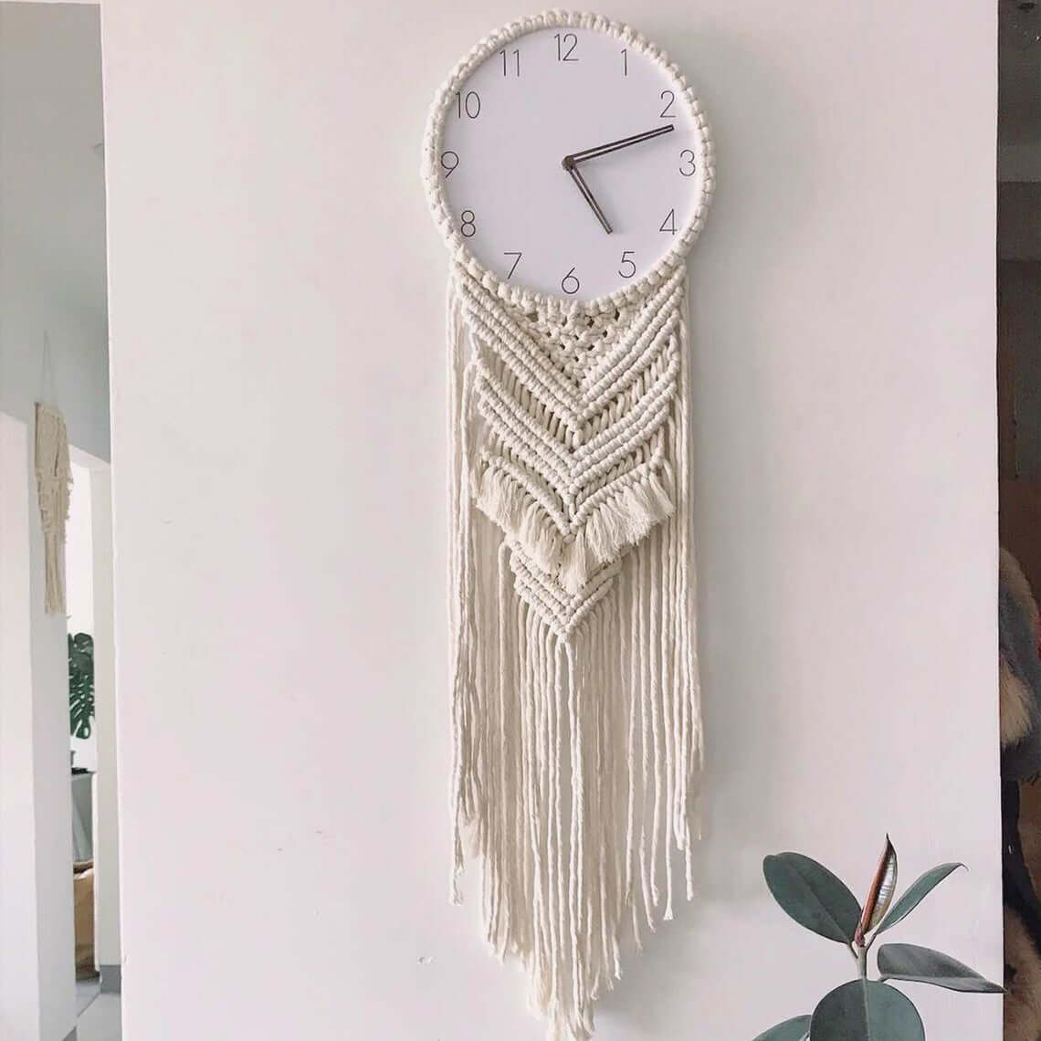 Big Tassel with Fringe Macrame Clock Holder