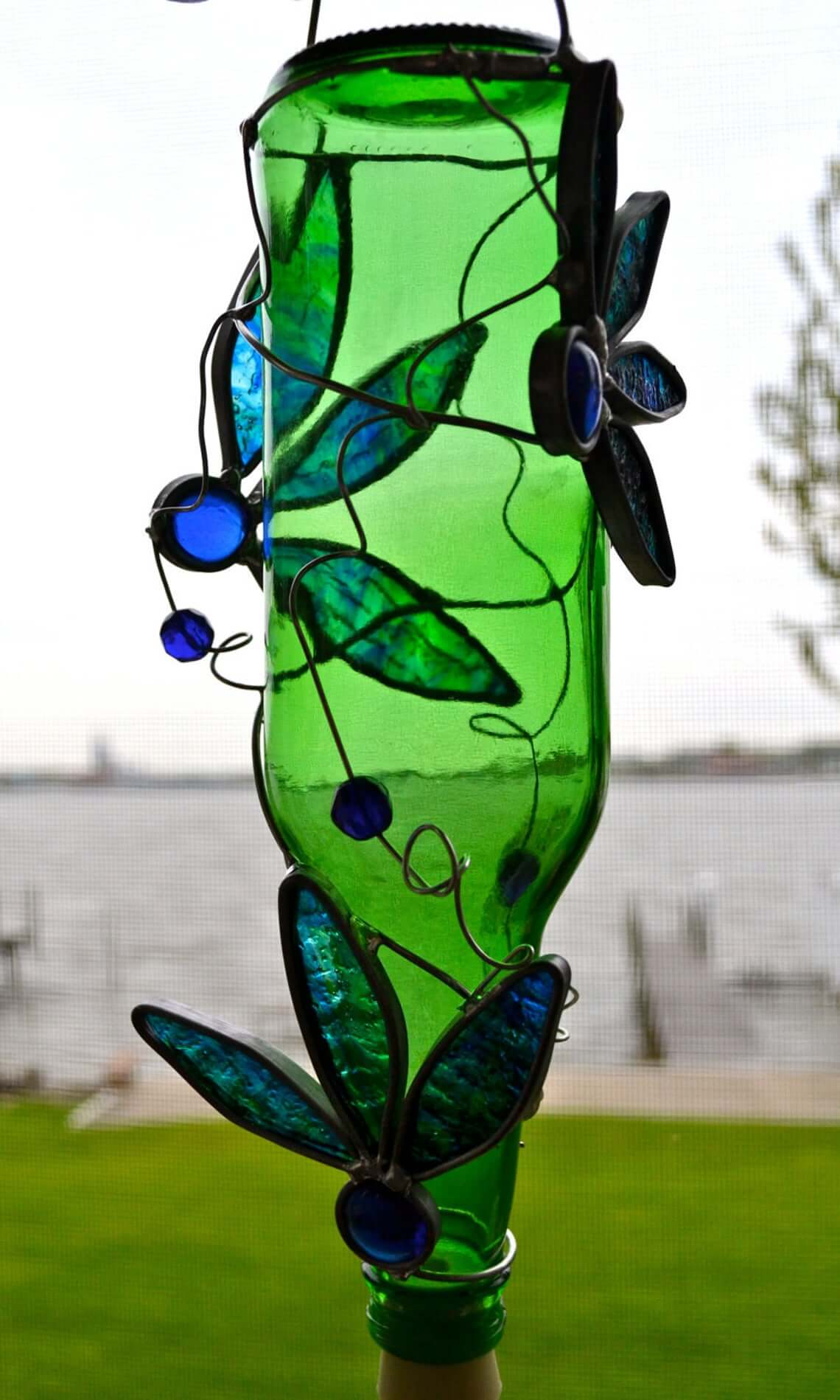 Repurposed Beer Bottle Hummingbird Feeder