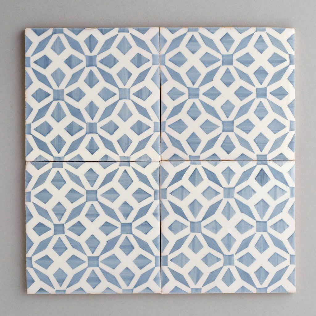 Four Squares Geometric Patterned Blue and White Tiles
